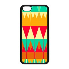 Triangles And Other Retro Colors Shapes 			apple Iphone 5c Seamless Case (black) by LalyLauraFLM
