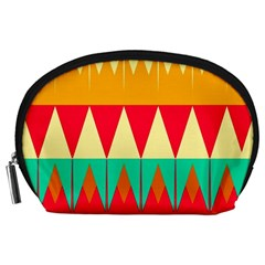 Triangles And Other Retro Colors Shapes Accessory Pouch by LalyLauraFLM