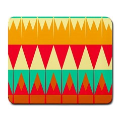Triangles And Other Retro Colors Shapes 			large Mousepad by LalyLauraFLM