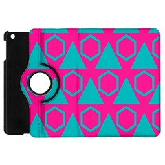 Triangles And Honeycombs Pattern 			apple Ipad Mini Flip 360 Case by LalyLauraFLM