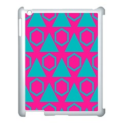 Triangles And Honeycombs Pattern 			apple Ipad 3/4 Case (white) by LalyLauraFLM