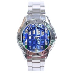Pane Glass Tardis Stainless Steel Watch (men s)