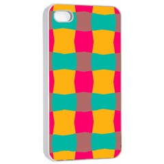 Distorted Shapes In Retro Colors Pattern 			apple Iphone 4/4s Seamless Case (white) by LalyLauraFLM