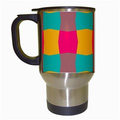Distorted Shapes In Retro Colors Pattern Travel Mug (white) by LalyLauraFLM