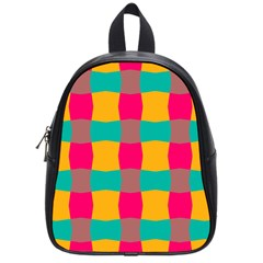 Distorted Shapes In Retro Colors Pattern 			school Bag (small) by LalyLauraFLM