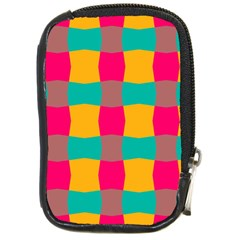 Distorted Shapes In Retro Colors Pattern 			compact Camera Leather Case by LalyLauraFLM