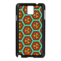 Red Flowers Pattern 			samsung Galaxy Note 3 N9005 Case (black) by LalyLauraFLM