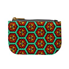 Red Flowers Pattern 	mini Coin Purse