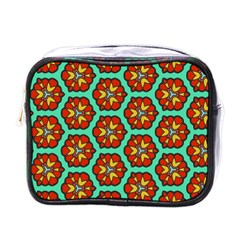 Red Flowers Pattern 			mini Toiletries Bag (one Side) by LalyLauraFLM