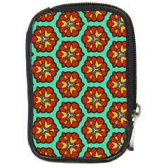Red Flowers Pattern 			compact Camera Leather Case by LalyLauraFLM