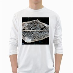 Modern Leaf White Long Sleeve T-shirts by timelessartoncanvas