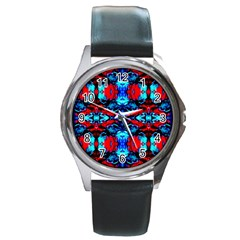 Red Black Blue Art Pattern Abstract Round Metal Watches by Costasonlineshop