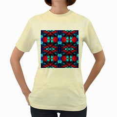 Red Black Blue Art Pattern Abstract Women s Yellow T Shirt by Costasonlineshop