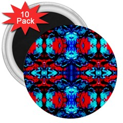 Red Black Blue Art Pattern Abstract 3  Magnets (10 Pack)  by Costasonlineshop