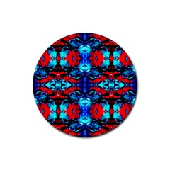 Red Black Blue Art Pattern Abstract Rubber Round Coaster (4 Pack)  by Costasonlineshop