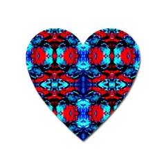 Red Black Blue Art Pattern Abstract Heart Magnet by Costasonlineshop