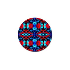 Red Black Blue Art Pattern Abstract Golf Ball Marker by Costasonlineshop