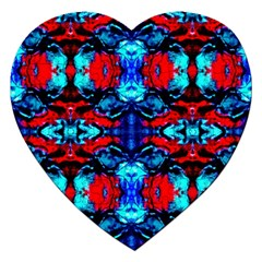 Red Black Blue Art Pattern Abstract Jigsaw Puzzle (heart) by Costasonlineshop