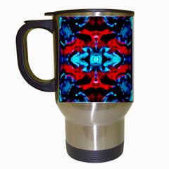 Red Black Blue Art Pattern Abstract Travel Mugs (white) by Costasonlineshop
