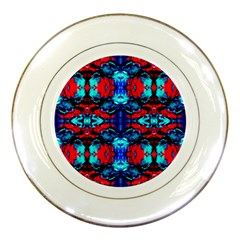 Red Black Blue Art Pattern Abstract Porcelain Plates by Costasonlineshop