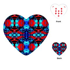 Red Black Blue Art Pattern Abstract Playing Cards (heart)  by Costasonlineshop