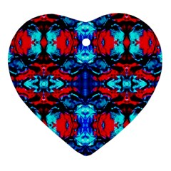 Red Black Blue Art Pattern Abstract Heart Ornament (2 Sides) by Costasonlineshop