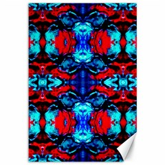 Red Black Blue Art Pattern Abstract Canvas 12  X 18   by Costasonlineshop