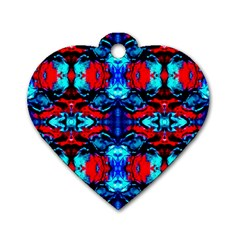 Red Black Blue Art Pattern Abstract Dog Tag Heart (two Sides)