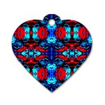 Red Black Blue Art Pattern Abstract Dog Tag Heart (Two Sides) Back