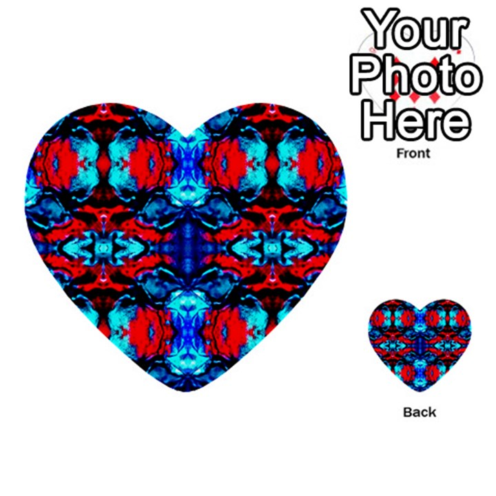 Red Black Blue Art Pattern Abstract Multi-purpose Cards (Heart)