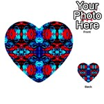 Red Black Blue Art Pattern Abstract Multi-purpose Cards (Heart)  Back 30