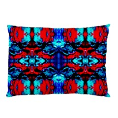 Red Black Blue Art Pattern Abstract Pillow Cases by Costasonlineshop