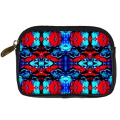 Red Black Blue Art Pattern Abstract Digital Camera Cases by Costasonlineshop