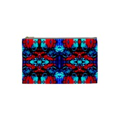 Red Black Blue Art Pattern Abstract Cosmetic Bag (small)  by Costasonlineshop