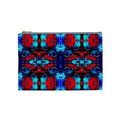 Red Black Blue Art Pattern Abstract Cosmetic Bag (medium)  by Costasonlineshop