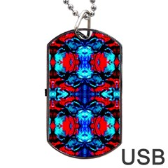 Red Black Blue Art Pattern Abstract Dog Tag Usb Flash (two Sides)  by Costasonlineshop