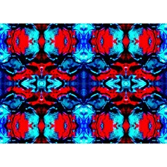 Red Black Blue Art Pattern Abstract Birthday Cake 3d Greeting Card (7x5)  by Costasonlineshop