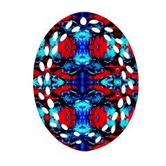 Red Black Blue Art Pattern Abstract Oval Filigree Ornament (2 Side)  by Costasonlineshop