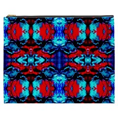 Red Black Blue Art Pattern Abstract Cosmetic Bag (xxxl)  by Costasonlineshop
