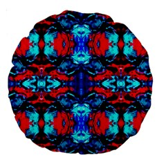 Red Black Blue Art Pattern Abstract Large 18  Premium Round Cushions by Costasonlineshop