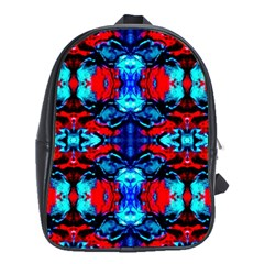 Red Black Blue Art Pattern Abstract School Bags (xl)  by Costasonlineshop