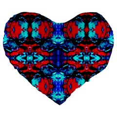Red Black Blue Art Pattern Abstract Large 19  Premium Heart Shape Cushions by Costasonlineshop