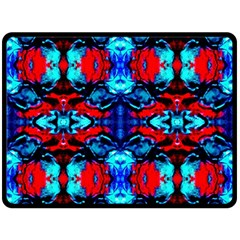 Red Black Blue Art Pattern Abstract Double Sided Fleece Blanket (large)  by Costasonlineshop