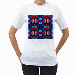 Red Black Blue Art Pattern Abstract Women s T Shirt (white)