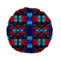 Red Black Blue Art Pattern Abstract Standard 15  Premium Flano Round Cushions by Costasonlineshop