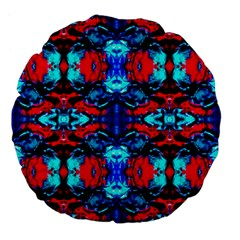 Red Black Blue Art Pattern Abstract Large 18  Premium Flano Round Cushions by Costasonlineshop