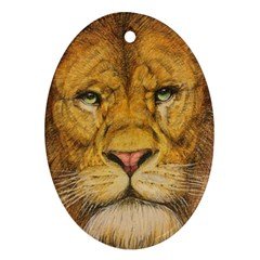 Regal Lion Drawing Ornament (oval)  by KentChua