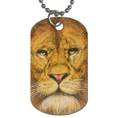 Regal Lion Drawing Dog Tag (one Side) by KentChua