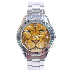 Regal Lion Drawing Stainless Steel Men s Watch by KentChua