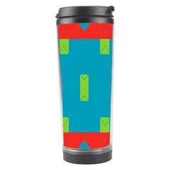 Chevrons And Rectangles Travel Tumbler by LalyLauraFLM